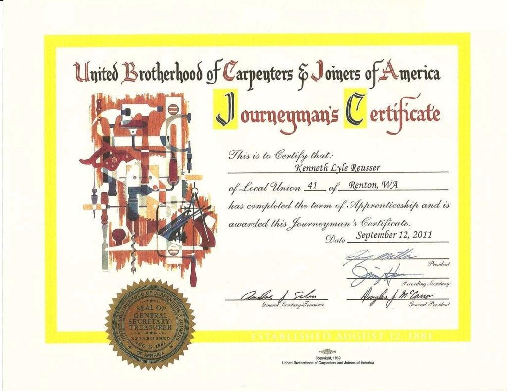 Journeyman's Certificate