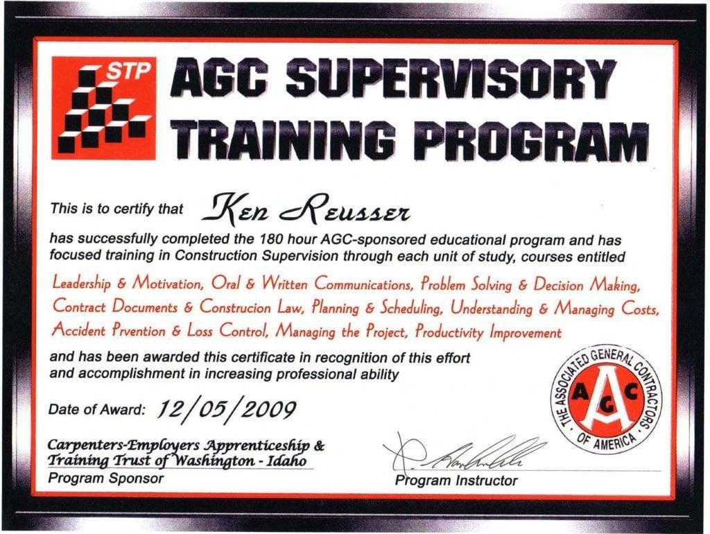 AGC-Sponsored Supervisory Training Program