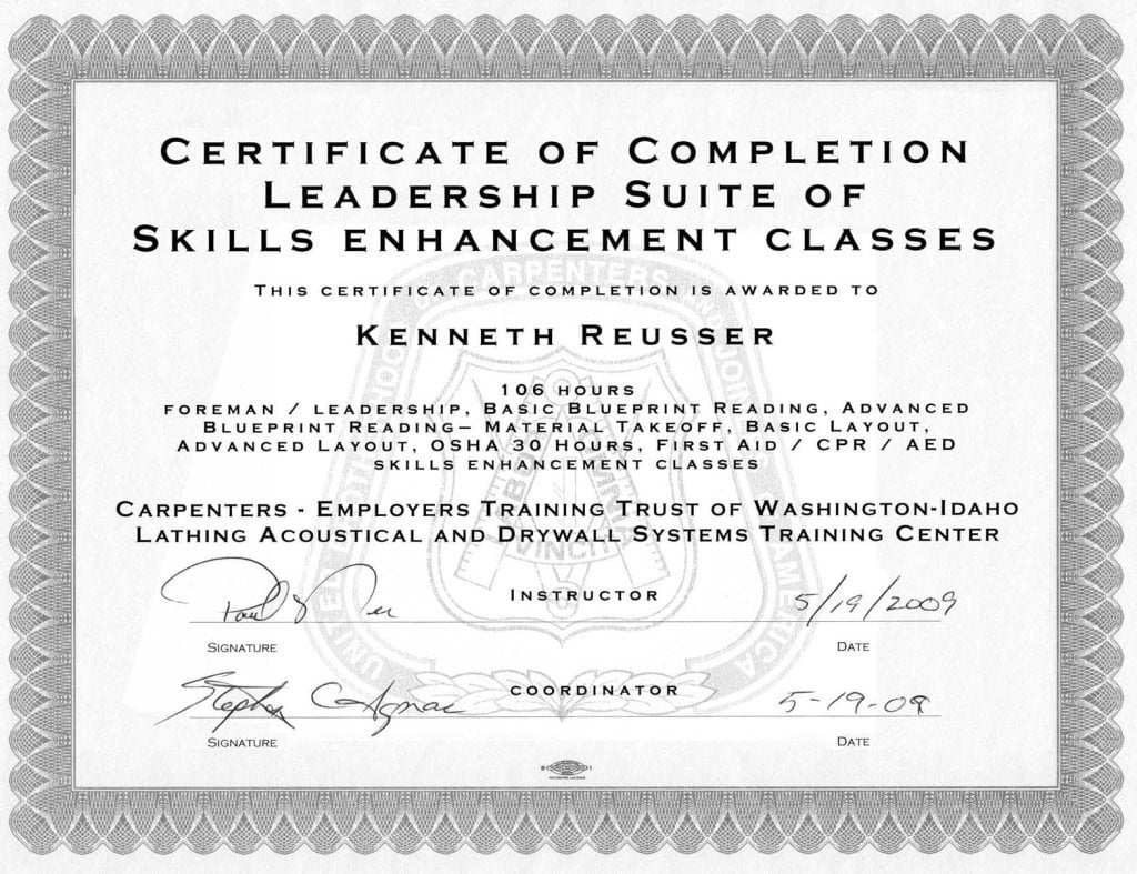 Construction supervisor credentials high tech pacific builders certificate of completion in foremans leadership skills malvernweather Gallery