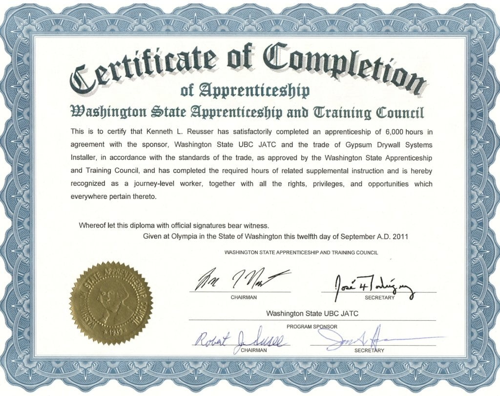 Construction supervisor credentials high tech pacific builders 6000 hours of apprenticeship 1betcityfo Choice Image