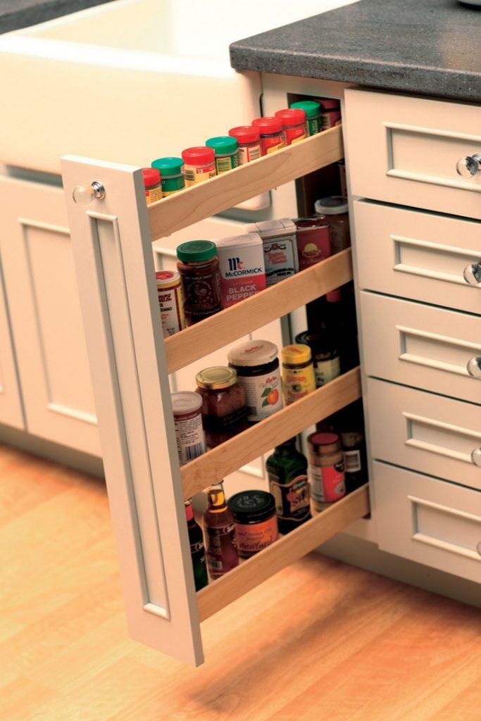 Narrow spaced shelves